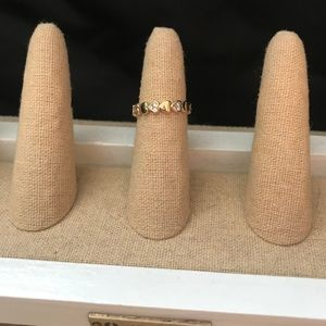 Size 6 Gold Pave Hearts Ring